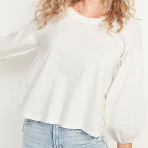 Old Navy White Oversized Blouse Top NWT